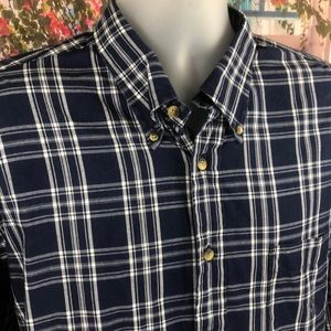 Nautica Dark Blue and White Button Down Shirt